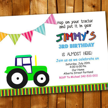 Tractor, Birthday Invitation, Birthday Party for little boy and little girl