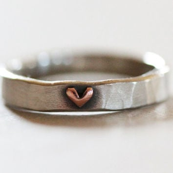 You Live In My Heart Raised Heart Ring / Gift for Her / Love Ring / Anniversary Gift / Hand Forged / Unique Gift / Love Jewelry / Love Gift