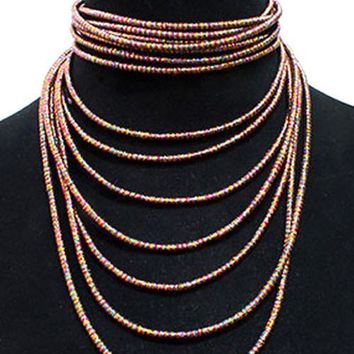multi row coil cord stack choker collar necklace bib 2 piece