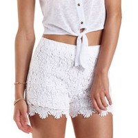 White High-Waisted Scalloped Lace Shorts by Charlotte Russe