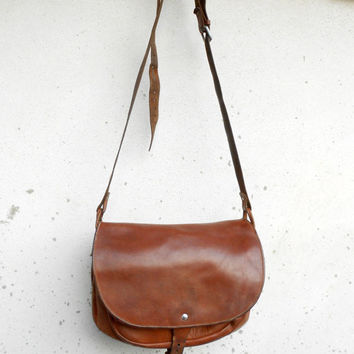 Vintage Distressed Vegetable Tanned Brown Leather Messenger Bag , Crossbody Bag // Handmade // Large