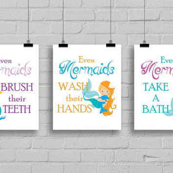 "Mermaid Bathroom Decor - Set of 3 Prints ""Even Mermaids Wash Their Hands"" Bathroom Rules, Girls Bathroom"