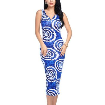 Women Sexy Bodycon Dress Boho Beach V neck Summer Off shoulder Print Party Dresses Long Vintage Vestidos Sleeveless Zippers