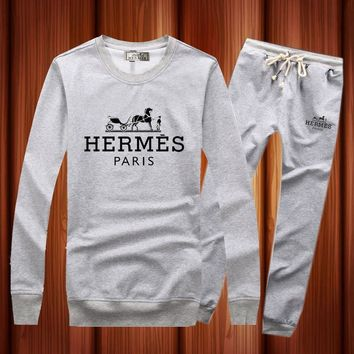 Hermes Woman Men Long Sleeve Shirt Top Tee Pants Trousers Set Two-Piece Sportswear