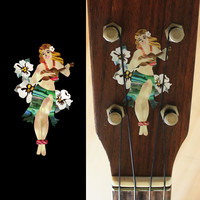 Hula Girl with Hibiscus Flowers Inlay Stickers Decals Ukulele
