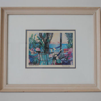 "Beach Cottage Coastal Vintage Eileen Seitz Signed and Framed Print ""Tree House Breezes"" - (100.88)"