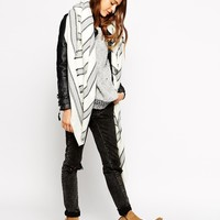 ASOS Oversized Square Scarf With Multi Grey Stripe