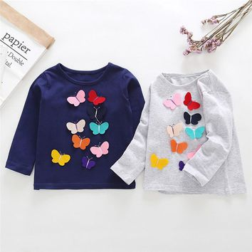 Winter Baby Clothes Baby Girls Tops And Tees Toddler Kids Baby Girls Long Sleeve Butterfly Applique T-Shirt Top Clothes AU09#F