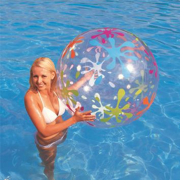 85cm Inflatable Transparent Beach Ball Outdoor Sport Ball Splash Play Swim Pool Water Toys PVC Vent Balls For Kids Inflated Toy