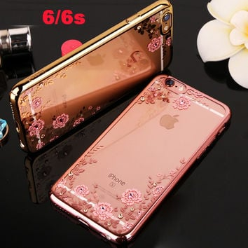 i rose pink soft luxury phone cover case for apple iphone 6 s 6s coque Clear transparent girl diamond battery covers  tpu cases
