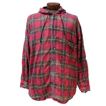 Oversized Hooded Flannel Shirt Size Large Soft Distressed Red Flannel