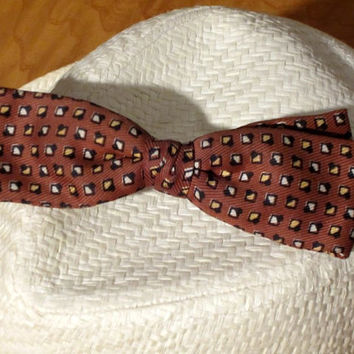 Nifty Fifties Bowtie Rat Pack Geo Print Mocha Gold Black Men's Wedding Formal Vintage Accessories - FREE SHIPPING
