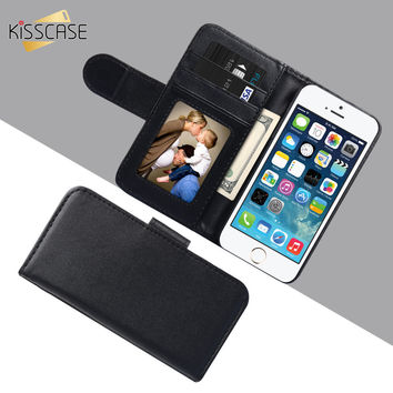 KISSCASE For Apple iPhone 6 6S 7 / Plus 5 5S SE 5C 4S Leather Case Photo Frame Wallet Cover For Samsung Galaxy S7 S6 Edge S5
