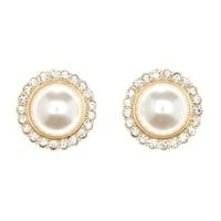 Gold Rhinestone-Trimmed Pearl Earrings by Charlotte Russe