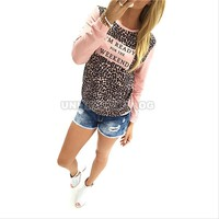 Winter Women Leopard Tee Shirt Top Blouse Casual Sweatshirt Jumper Pullover