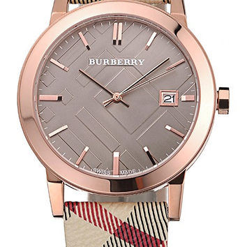 Burberry The City Classic Grey Dial Haymarket Bracelet 622566