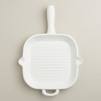 Matte White Ceramic Flameware Skillet Griddle - World Market