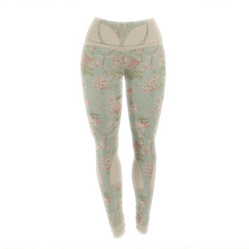 "Alias ""Floral Alien"" Pink Teal Yoga Leggings"