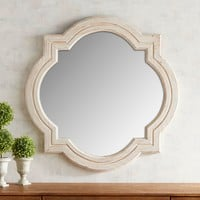 Whitewashed Quatrefoil Mirror