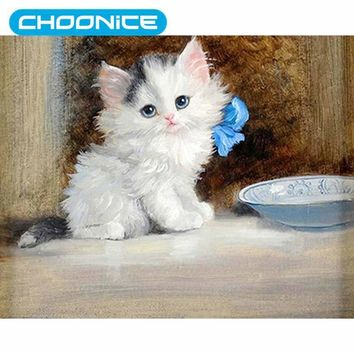 Cat Diamond Painting Little White Cat Blue Flowers DIY 3D Diamond Embroidery Small Animals Cross Stitch  Paintings MosaicKawaii Pokemon go  AT_89_9