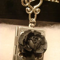 Black Rose Vintage Style Book locket Necklace with Key (1562)