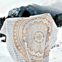 Glorious Unique Color Shade Purple-pink Large Queen Mandala Tapestry (85x94 Inches) Ombre Psychedelic Tapestries Medallion Bohemian Wall Hanging