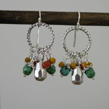 Antiqued Silver and Czech Glass Dangling Spiral Hoop Boho Style Earrings