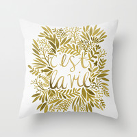 That's Life – Gold on Gold Throw Pillow by Cat Coquillette