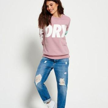 CREYONS Superdry Fashion Print Top Sweater Pullover