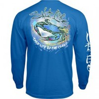 Salty Crab Long Sleeve Pocket Tee - Mens