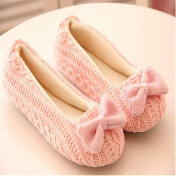 Warm Soft Sole Woman Indoor Floor Slippers Autumn Winter Home Shoes Womens Crochet Bowtie Antiskid Casual Slip-On Houses Shoe