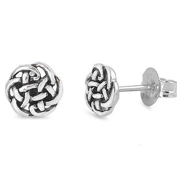 Sterling Silver Celtic Knot Stud Earrings - 5mm