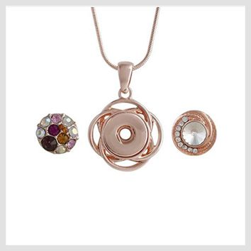Rose Gold Pendant Includes 2 Snaps 12mm Mini
