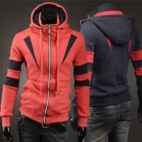 Double Zip Slim Fit Modern Men Fashion Hoodie