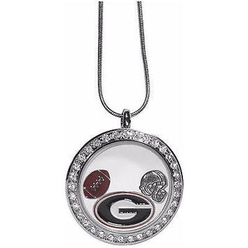 "Georgia Bulldogs Locket Necklace Floating Charms Silver Tone 18"" Snake Chain"