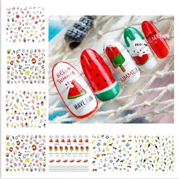 New Fashion Fruit Watermelon Flamingo Flower Candy Sun Nail Sticker Decal Water Transfer Sticker Nail Art Decals DIY Decor