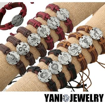 12pcs/lot Newest 12 Zodiac Signs Leather Bracelet Constellations Charm Bracelets Adjustable Bracelet Jewelry Silver