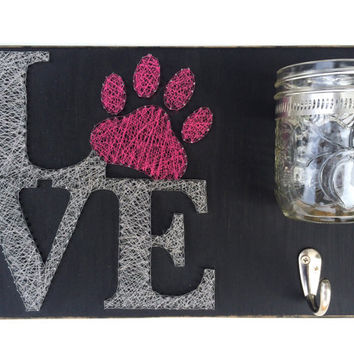 Unique LOVE, String Art Dog Leash and Treat Holder!