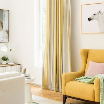 Drapes with Yellow and Gray Strips