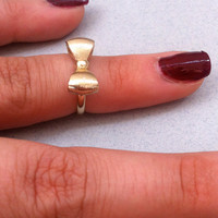 Knuckle Ring, Gold Bow Knuckle Ring, Hipster Mid-Finger Ring, Above Knuckle Ring, Bow Mid Finger Ring