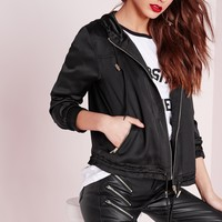 Missguided - satin utility hoodie black
