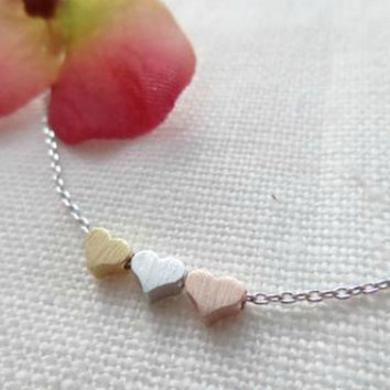 Perfect Valentines Day Gift - Tiny 3 Heart Necklaces (Gold, Silver and Rose Gold)