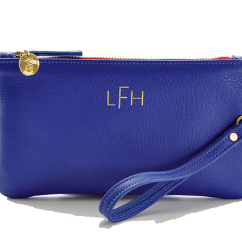 Electric Blue Monogram Wristlet