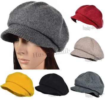 Vintage Newsboy visor Cap women Beret hat Wool Golf Driving Cabbie Flat cap