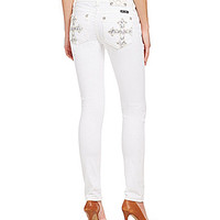 Miss Me Mid-Rise Cuffed Skinny Jeans - White