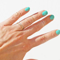 Set of Four Gold Filled and Sterling Silver Knuckle Rings - Stackable Rings