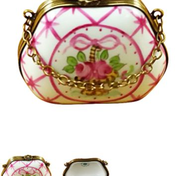 Rochard pink flowers purse limoges box