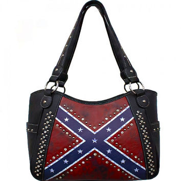 Studded Vintage Rebel Flag Purse