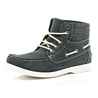 River Island Boys navy boat boot