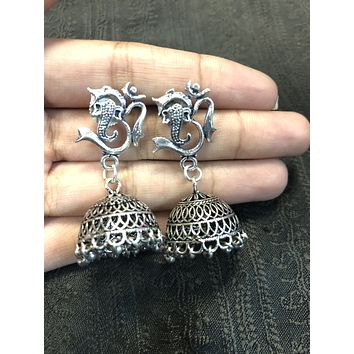 Oxidized Ganesha earring